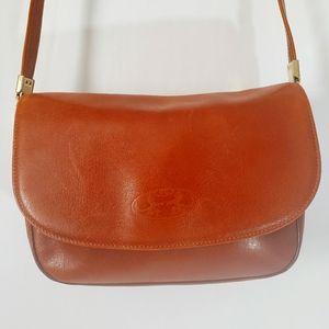 Pourchet Paris Brown Leather Crossbody Purse